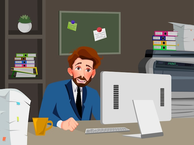 Businessman is working on a computer in his office. vector illustration.