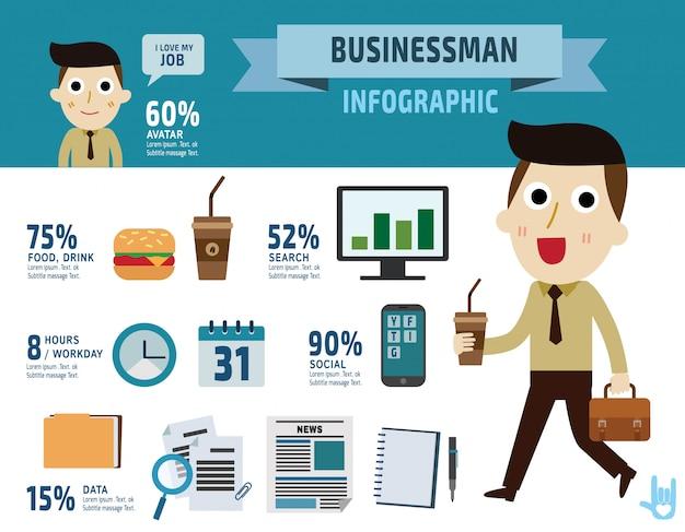 Businessman. item collection flat elements design illustration - vector