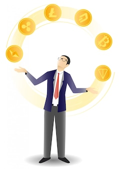 Businessman juggling crypto coins  illustration