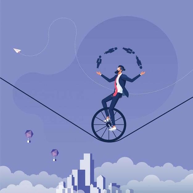 Иконка бизнесмен жонглирование мужчин и женщин во время езды на велосипеде