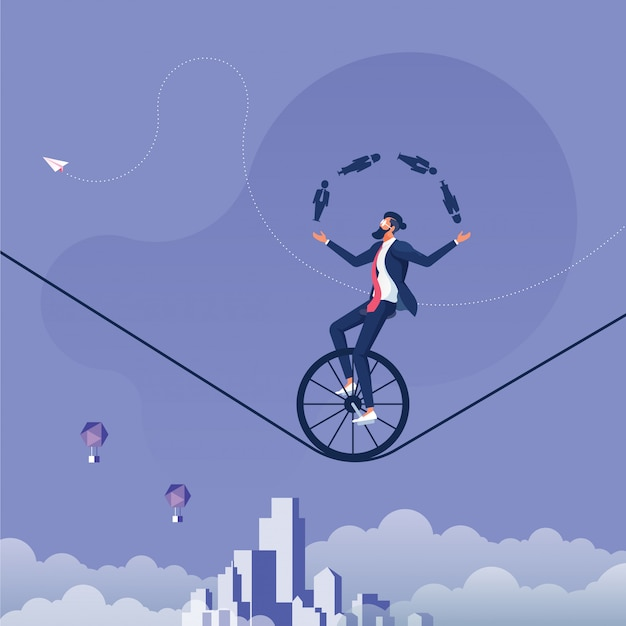 Businessman juggling men and women icon whilst riding a unicycle-man management concept