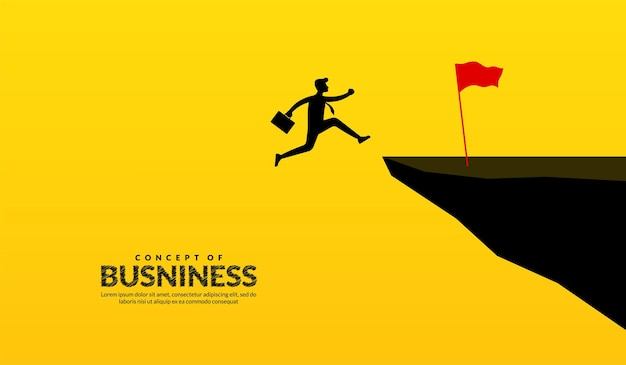 Businessman jump over cliffs through across obstacles to success business success concept