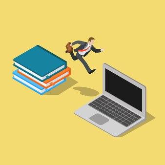 ビジネスマンはノートブック日記からラップトップにジャンプします