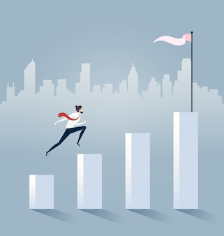 Businessman jump on graph columns