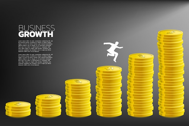 Businessman jump to higher column of money graph.