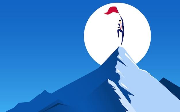 ビジネスマンは山の上にジャンプ成功を祝う