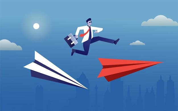 Businessman jump over paper plane