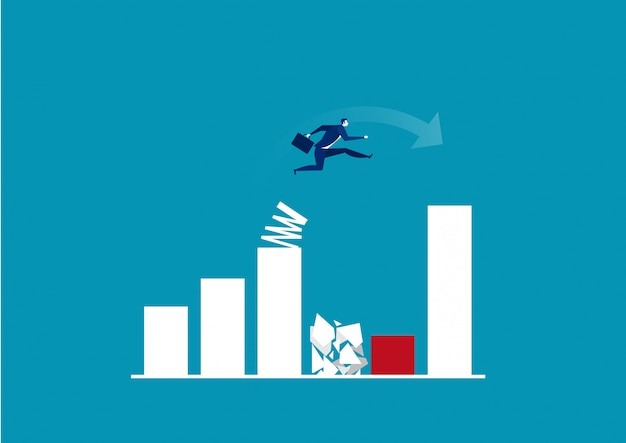 Businessman jump spring across the growing bar chart. illustrator.