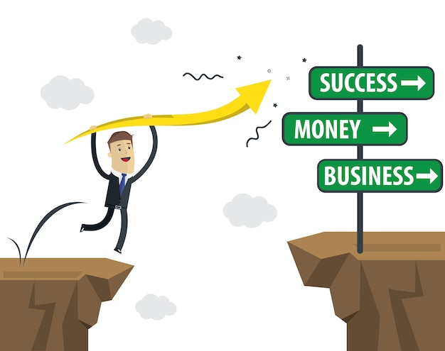 Businessman jump to success. take the risk for success.
