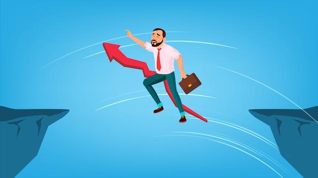 Бизнесмен прыгает через разрыв между скал