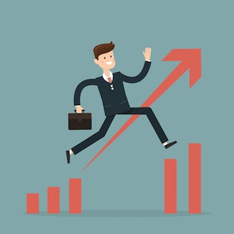Businessman jump through the gap in growth chart vector