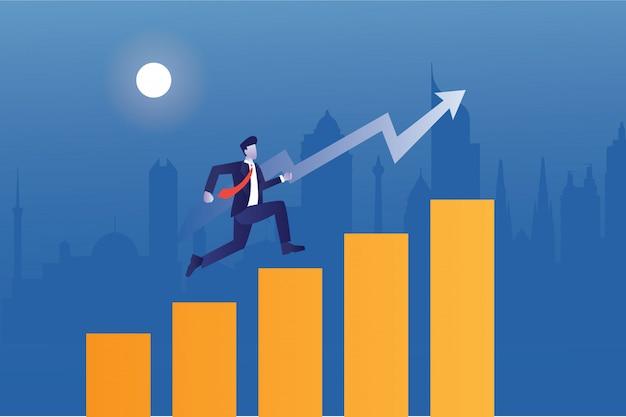 ビジネスマンは都市の建物と統計バーの矢印をジャンプアップ