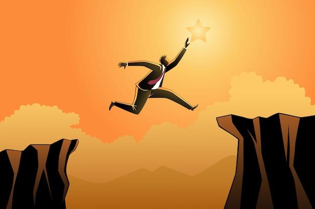 星に到達するために岩の間をジャンプするビジネスマン