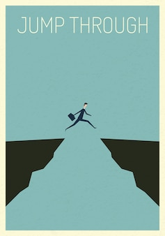 Businessman jumping over chasm vector concept.