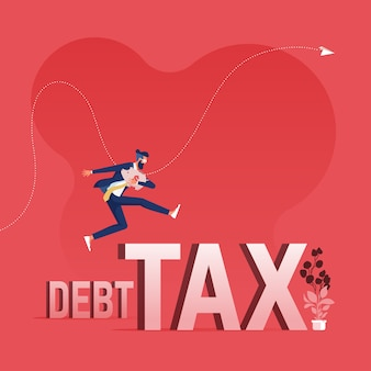 Businessman jumping over debt and tax word-overcoming debt and tax concept