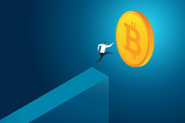 Businessman jumping from cliff to coin bitcoin challenge to market