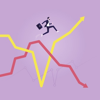 Businessman jumping from falling arrow to rising arrow savings and investment financial plan