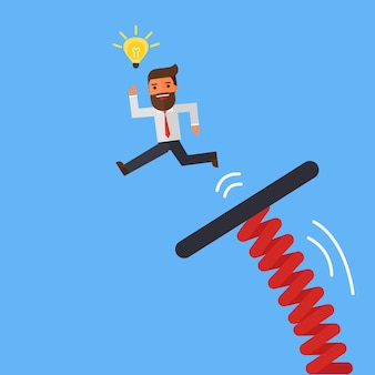 Businessman jumping from springboard on blue sky