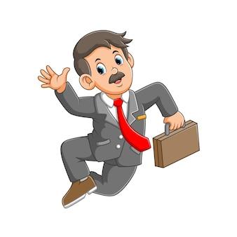 Businessman jumping holding suitcase illustration