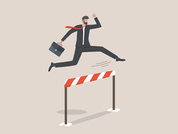 Businessman jumping over hurdle, barrier on way to success.