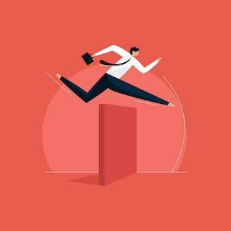 Businessman jumping over hurdle concept