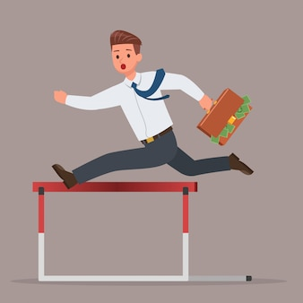 Businessman jumping over hurdle obstacle character set