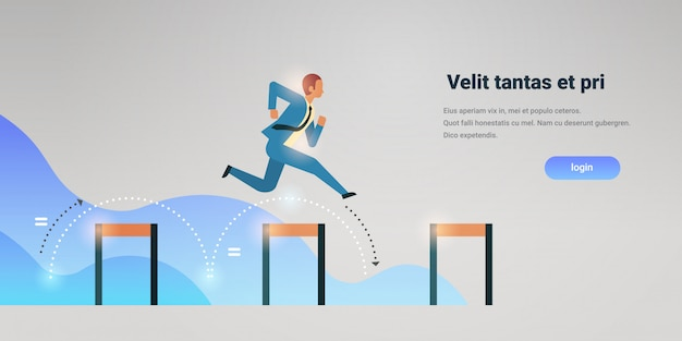 Businessman jumping over obstacle successful office worker business man leadership successful strategy horizontal copy space flat