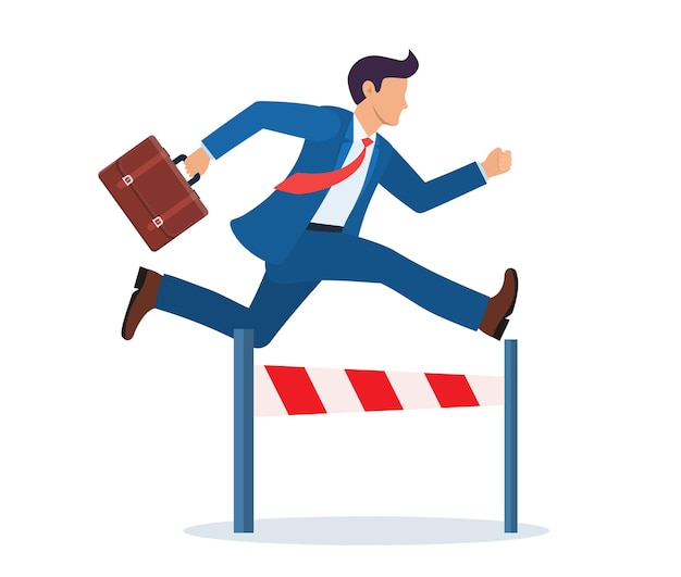 Businessman jumping over the obstacle