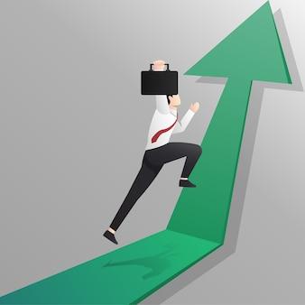 Бизнесмен прыгает на концепции зеленой стрелки