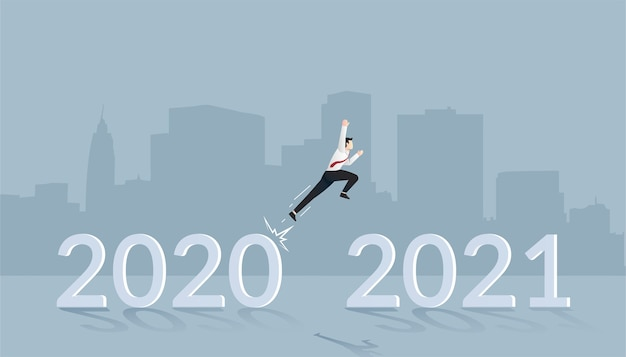 新しいビジョンと計画のための新年のコンセプトに飛びつくビジネスマン