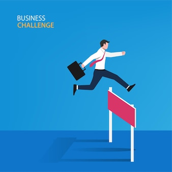 障害物の概念にジャンプするビジネスマン
