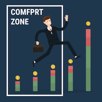 Businessman jumping out of the comfort zone to success.