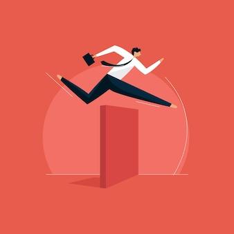 Бизнесмен, перепрыгивая через препятствие концепции