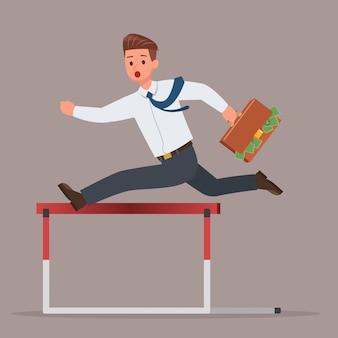 Бизнесмен, перепрыгивая через набор символов препятствие препятствие