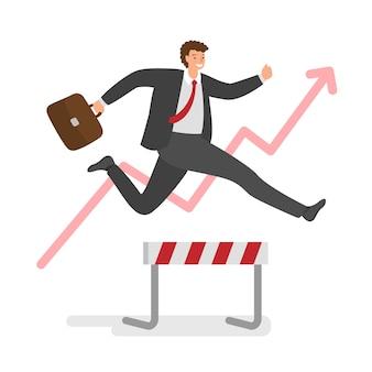 성공을 위해 경주에서 장애물을 통해 점프 사업가. 비즈니스 도전의 개념