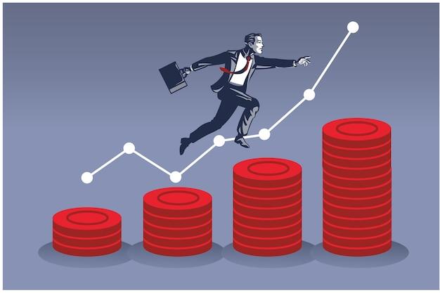 동전 더미 위로 점프하는 사업가. 금융 개발의 비즈니스 일러스트 컨셉