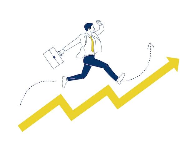 ビジネスマンが矢印の上にジャンプします。