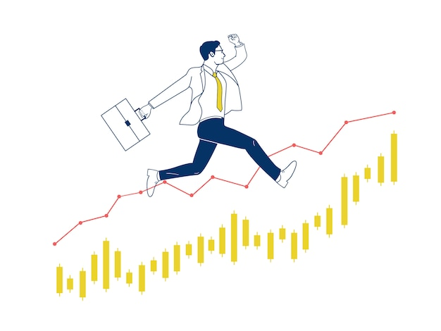 Businessman jumping up on stock graph.