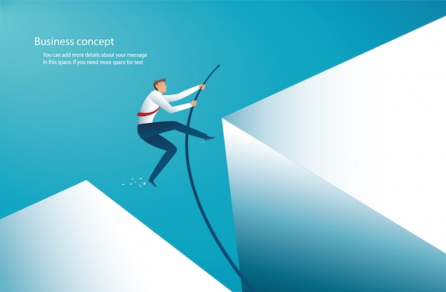 Businessman jumping with pole vault