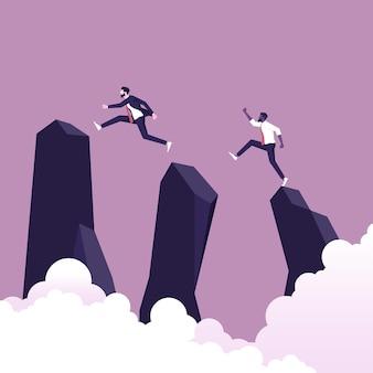 사업가는 목표를 달성하기 위해 격차를 뛰어 넘습니다. 비즈니스 도전 기회 성공의 상징