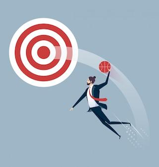 Businessman jumps to dunk target