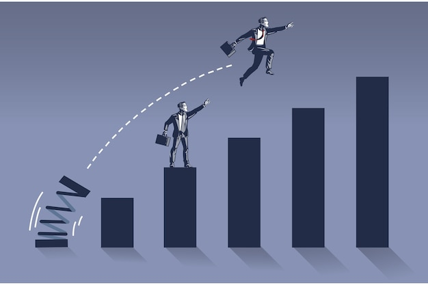 Businessman jumps high overlapping her colleague on bar chart illustration concept