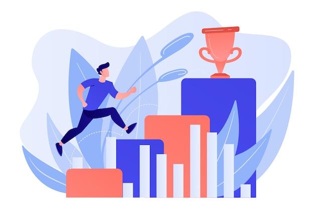 ビジネスマンは成功への道のグラフの列にジャンプします。ポジティブシンキングと成功の達成、白い背景の上の自信の概念。