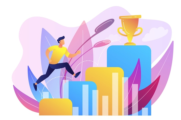 Бизнесмен прыгает по столбцам графика на пути к успеху. позитивное мышление и достижение успеха, концепция уверенности в себе