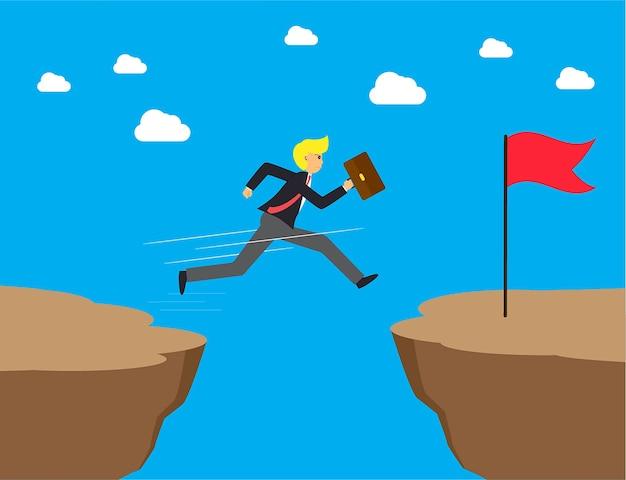Businessman jumps over the ravine