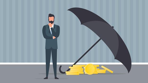 Бизнесмен держит капитал. большой зонт защищает деньги от риска и опасности. офис концепция экономии капитала и инвестиций. вектор.