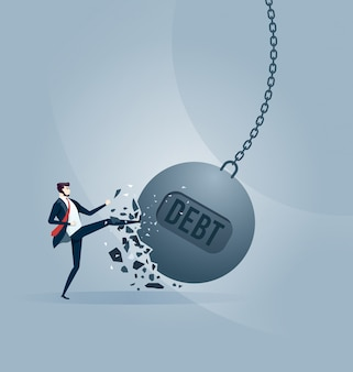 Businessman kicks a giant wrecking ball with a word debt.