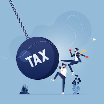 Businessman kicks a giant wrecking ball with a word tax