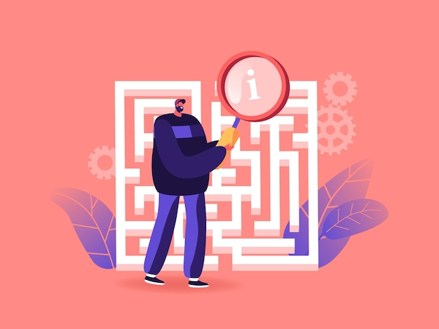 Businessman in labyrinth or maze with magnifier
