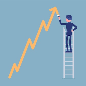 Businessman on ladder drawing positive dynamics climbing arrow. successful manager showing sale progress, optimistic right direction, business profit growth. vector illustration, faceless characters